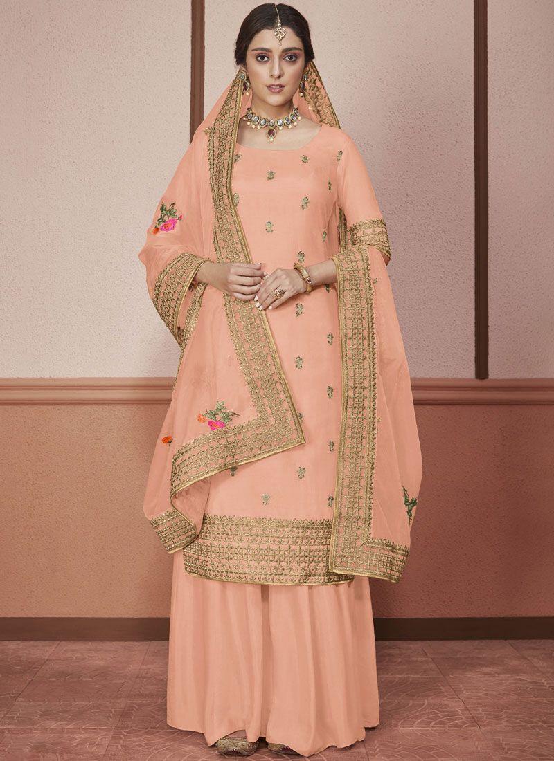 Silk Embroidered Peach Churidar Salwar Kameez