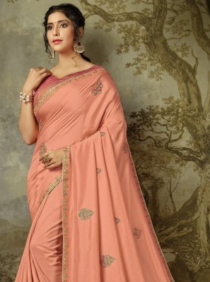 Silk Embroidered Peach Classic Saree
