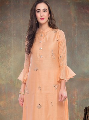 Silk Embroidered Peach Designer Kurti