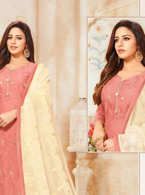 Silk Embroidered Peach Salwar Kameez