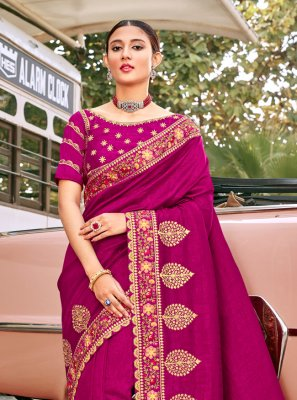 Silk Embroidered Pink Bollywood Saree