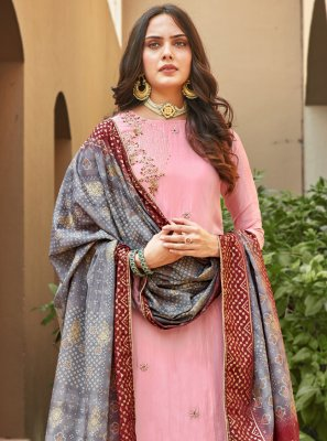 Silk Embroidered Pink Palazzo Salwar Suit