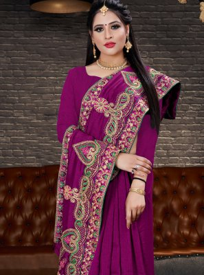 Silk Embroidered Purple Classic Saree