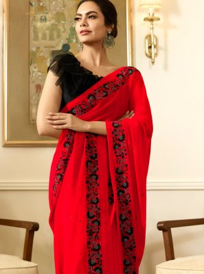 Silk Embroidered Red Classic Saree