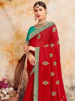 Silk Embroidered Red Contemporary Saree