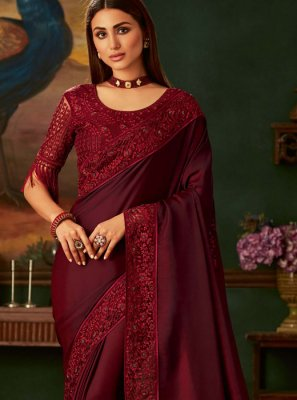 Silk Embroidered Red Designer Traditional Saree