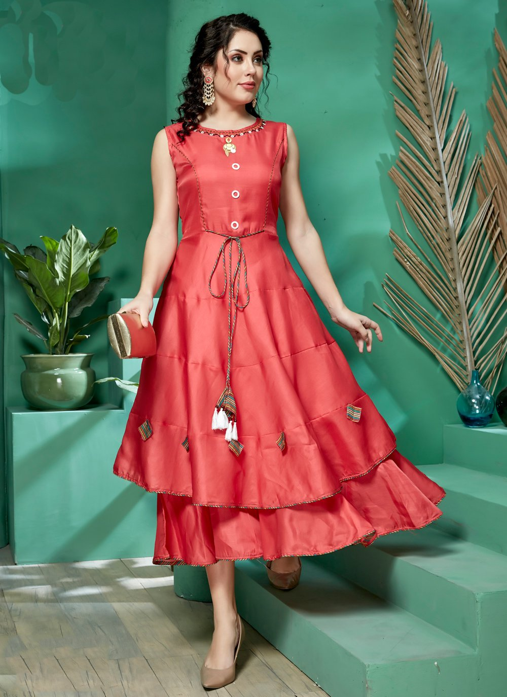 Silk Embroidered Red Party Wear Kurti