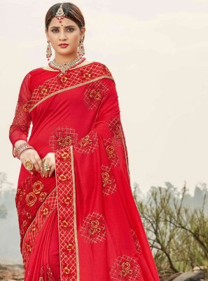 Silk Embroidered Red Traditional Saree