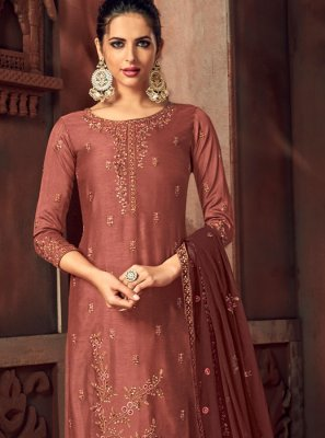 Silk Embroidered Rust Palazzo Suit
