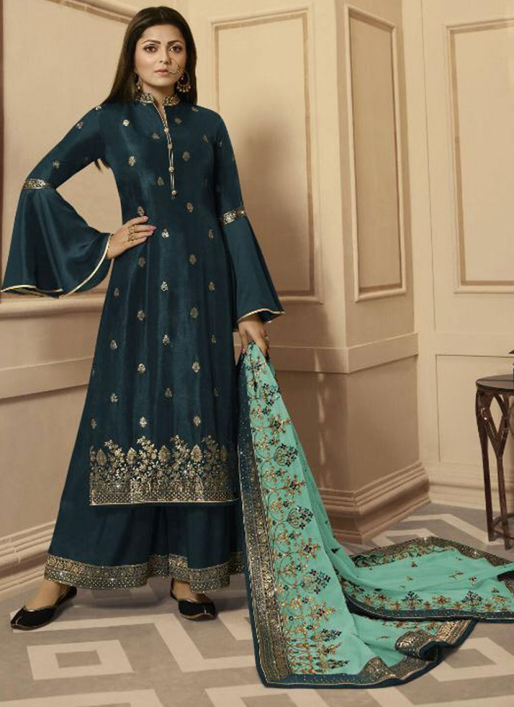 Silk Embroidered Salwar Suit
