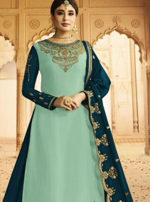 Silk Embroidered Sea Green A Line Lehenga Choli