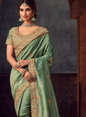 Silk Embroidered Sea Green Classic Saree