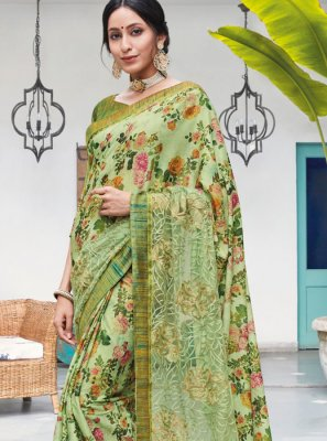 Silk Embroidered Sea Green Trendy Saree