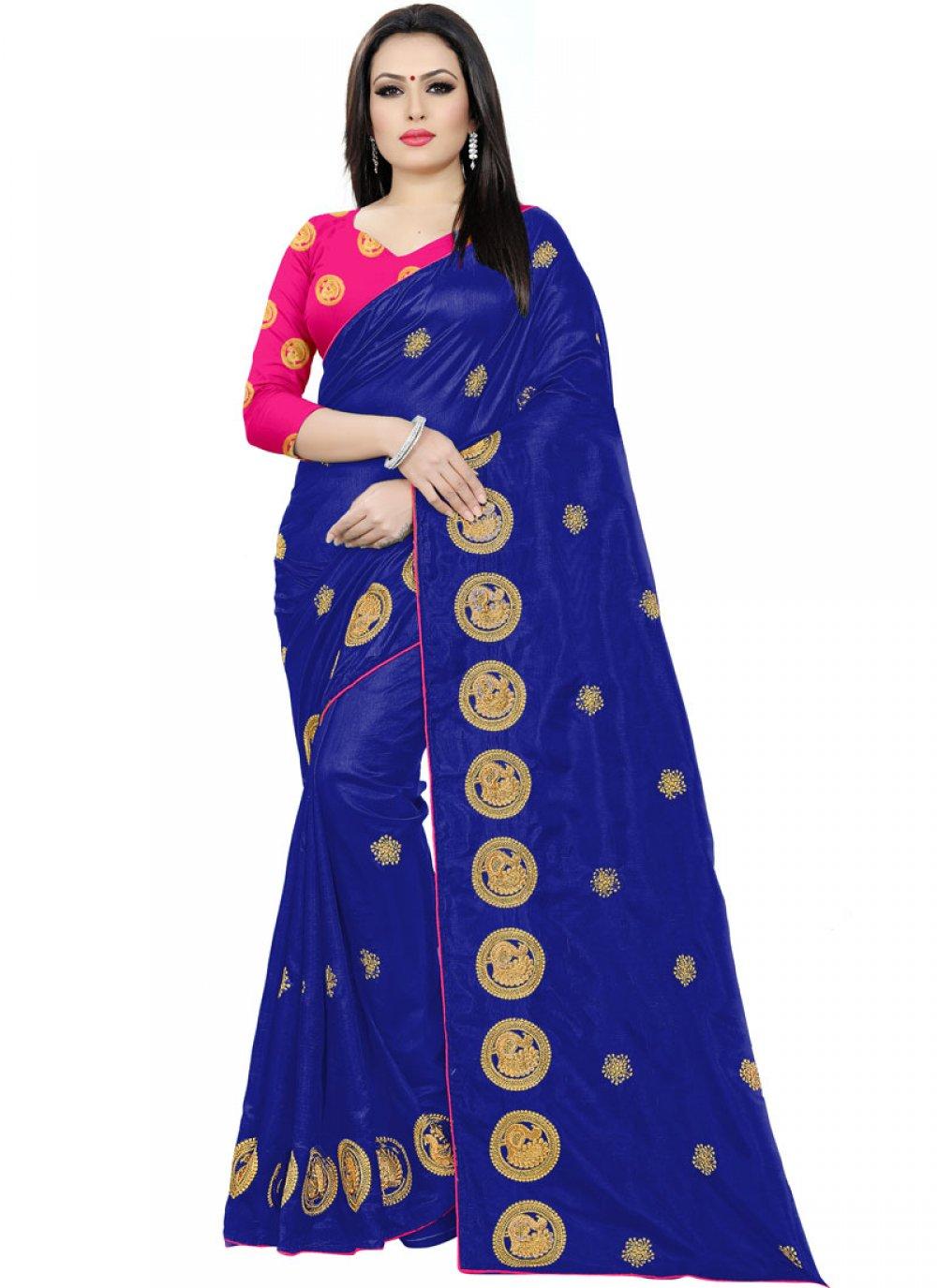 Silk Embroidered Silk Saree in Blue