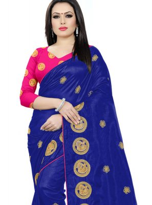Silk Embroidered Silk Saree in Blue