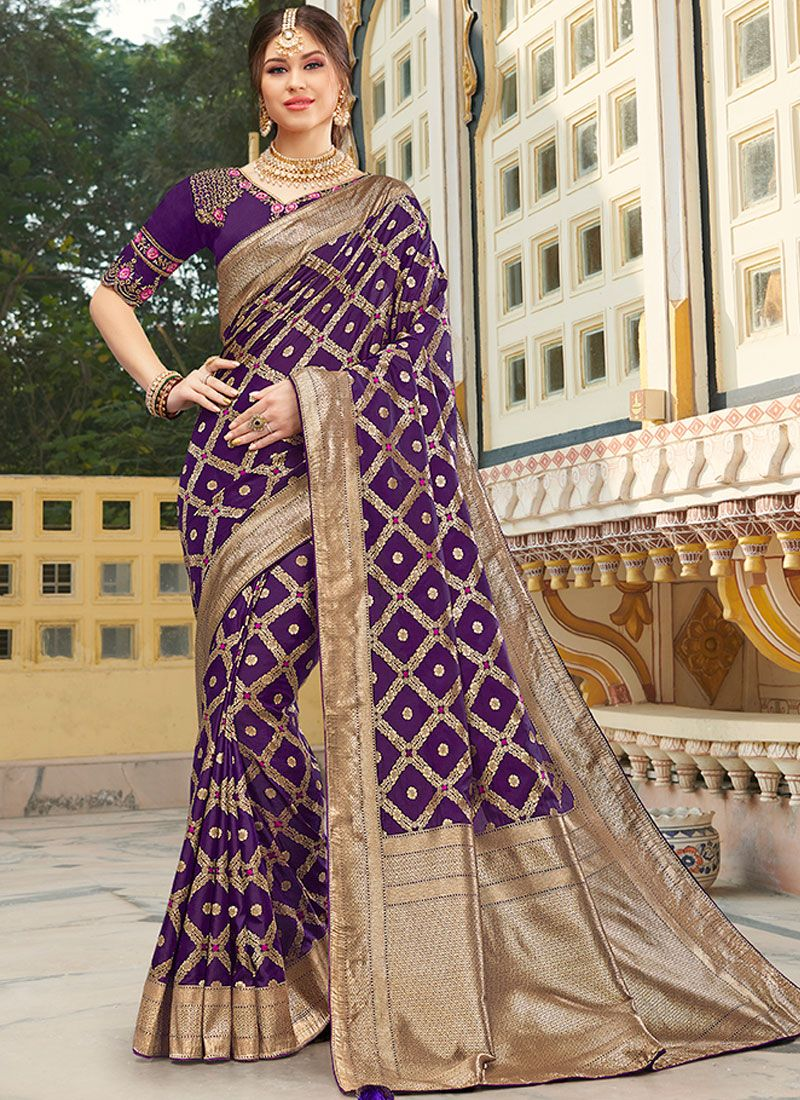 Silk Embroidered Silk Saree in Purple