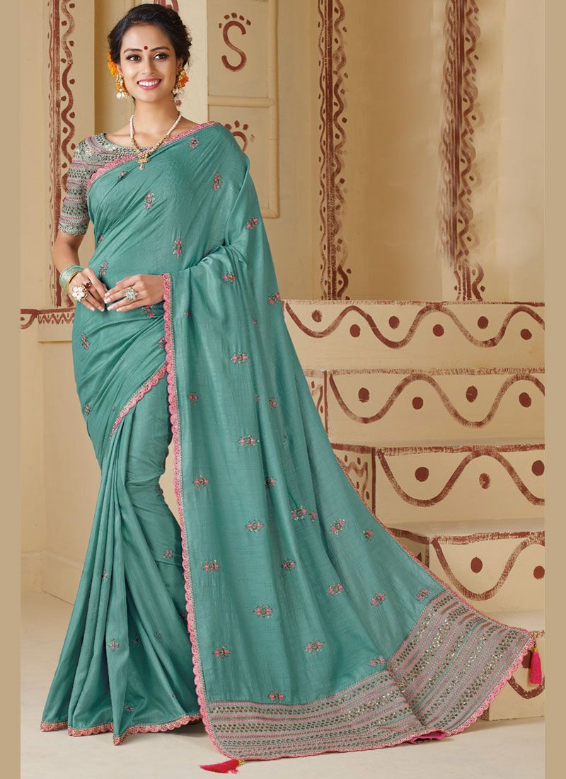 Silk Embroidered Silk Saree in Turquoise