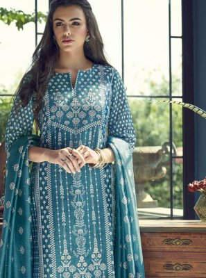 Silk Embroidered Straight Salwar Kameez in Blue