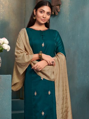 Silk Embroidered Teal Casual Kurti