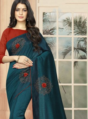 Silk Embroidered Teal Classic Designer Saree