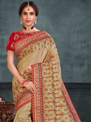 Silk Embroidered Traditional Saree in Beige