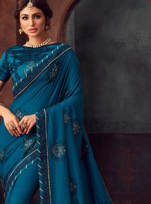 Silk Embroidered Traditional Saree in Blue