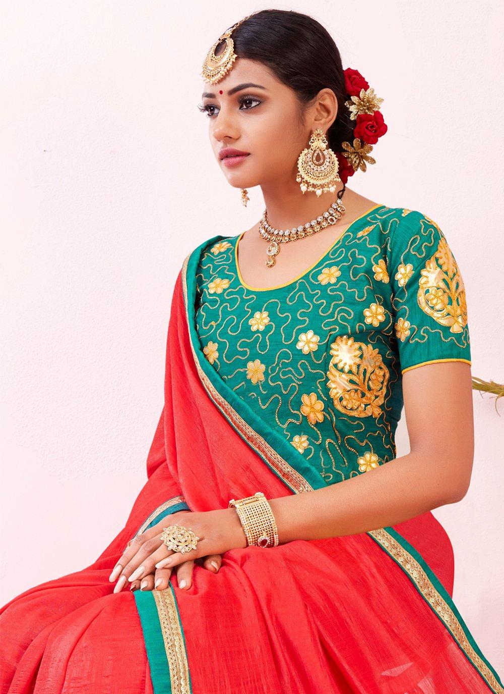 Silk Embroidered Traditional Saree in Multi Colour