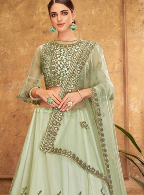 Silk Embroidered Trendy A Line Lehenga Choli in Green