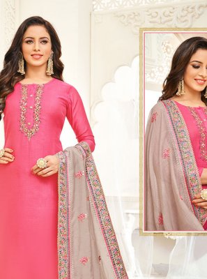 Silk Embroidered Trendy Churidar Salwar Kameez
