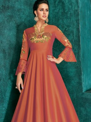 Silk Embroidered Trendy Gown in Orange