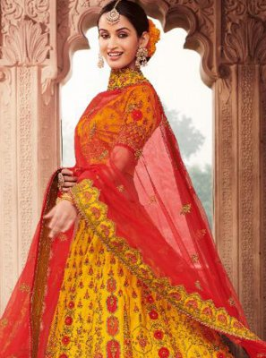 Silk Embroidered Trendy Lehenga Choli in Yellow