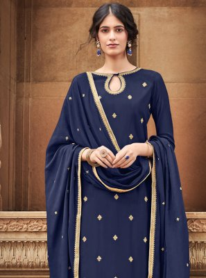 Silk Embroidered Trendy Salwar Kameez