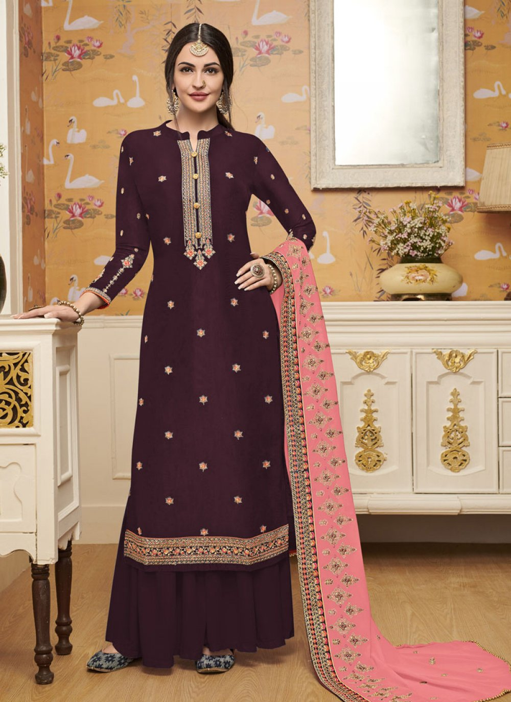 Silk Embroidered Trendy Salwar Suit
