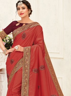 Silk Embroidered Trendy Saree in Maroon