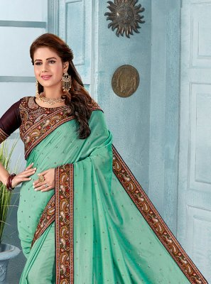 Silk Embroidered Turquoise Classic Designer Saree