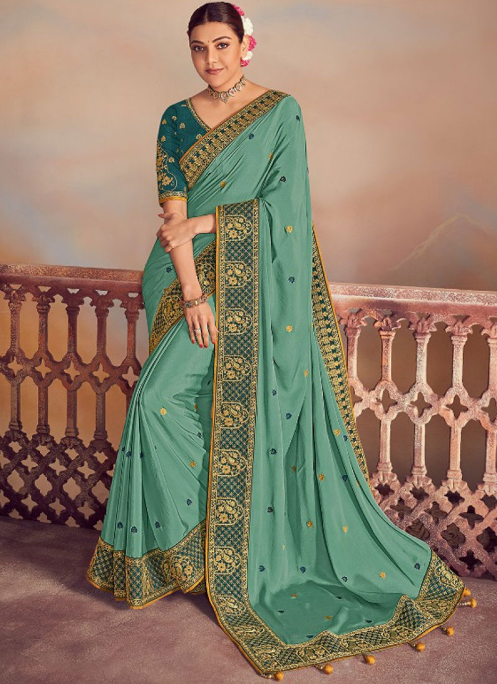 Silk Embroidered Turquoise Designer Saree