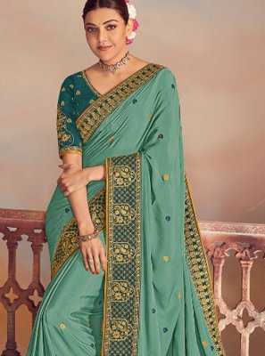 Silk Embroidered Turquoise Designer Saree