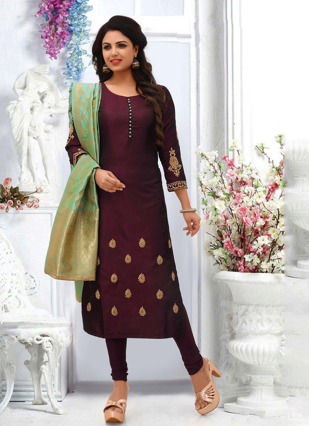 Silk Embroidered Wine Salwar Suit