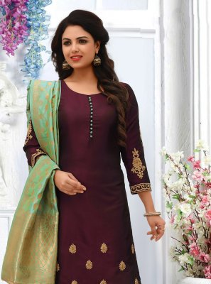 Silk Embroidered Wine Salwar Suit