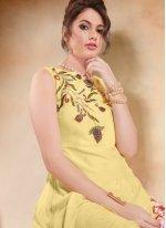 Silk Embroidered Yellow Casual Kurti