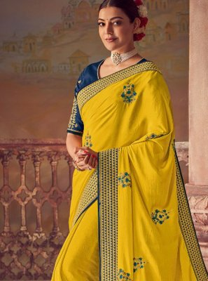 Silk Embroidered Yellow Designer Saree