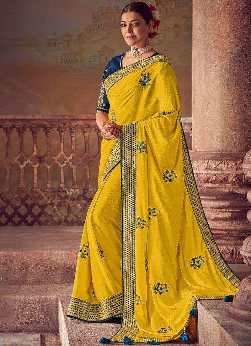 Silk Embroidered Yellow Designer Saree