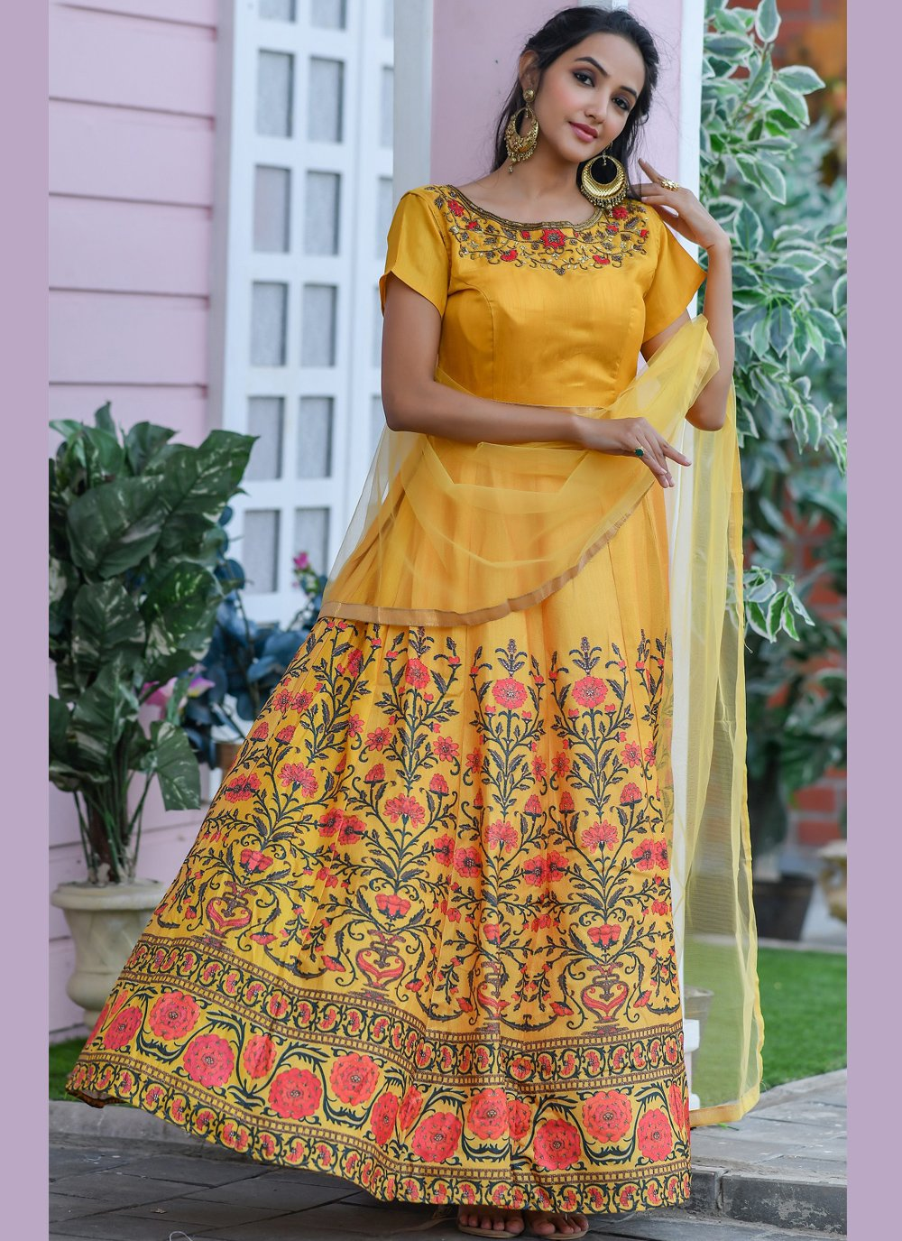 Silk Embroidered Yellow Trendy Gown