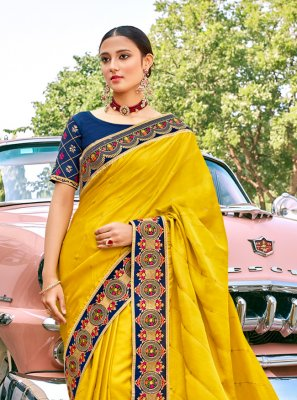 Silk Embroidered Yellow Trendy Saree