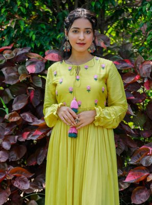 2 Pieces Yellow Russian Silk Dress with Floral Embroidery