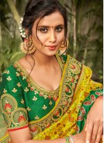 Silk Green and Yellow Embroidered Traditional Saree