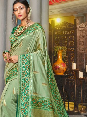 Silk Green Classic Designer Saree