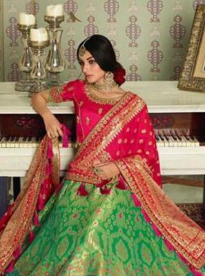 Silk Green Embroidered A Line Lehenga Choli