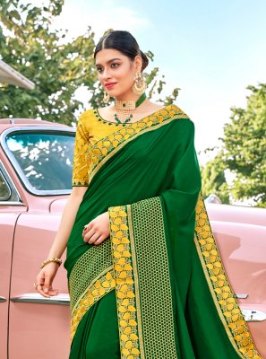 Silk Green Embroidered Bollywood Saree