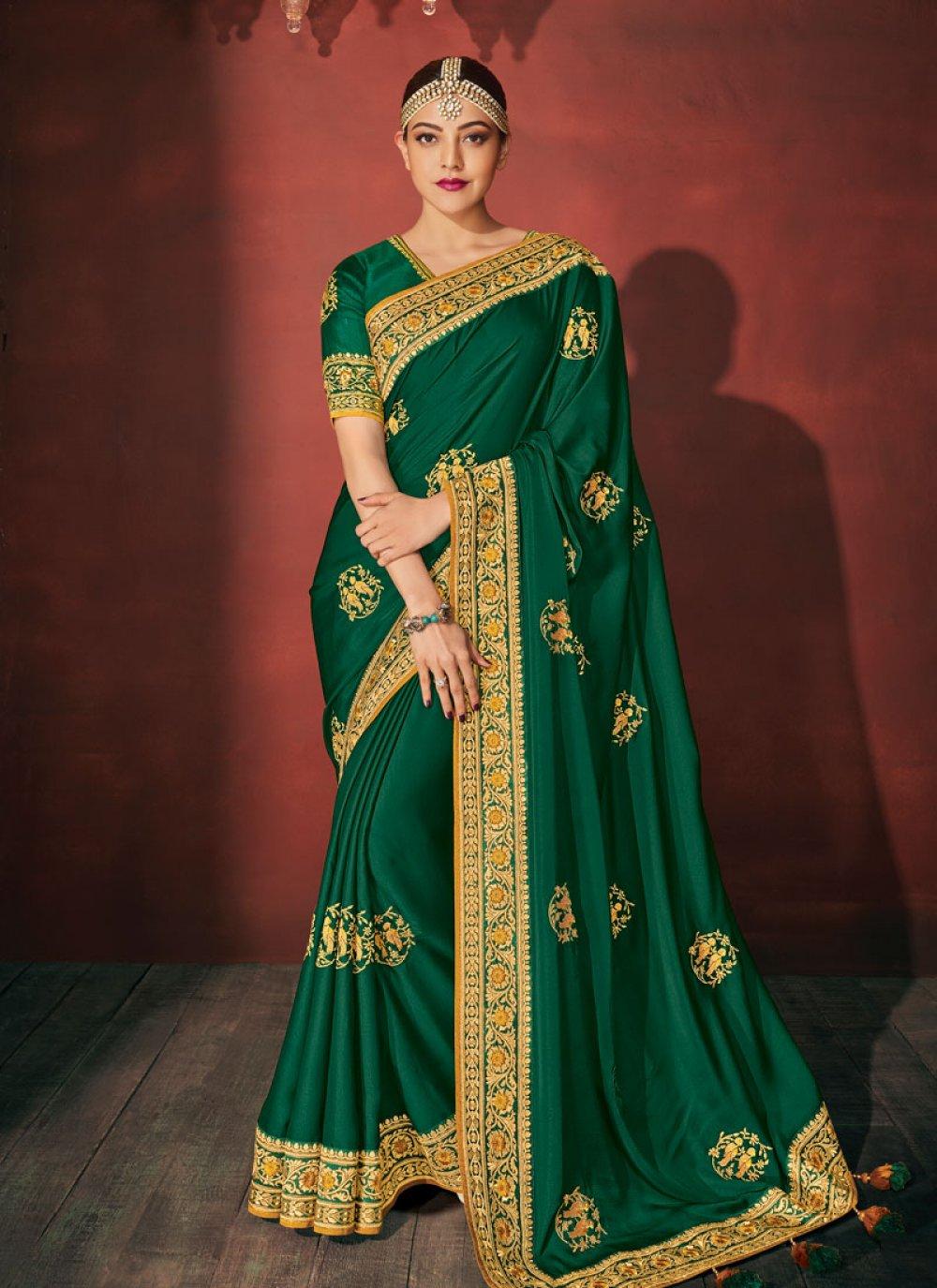 Silk Green Embroidered Classic Saree